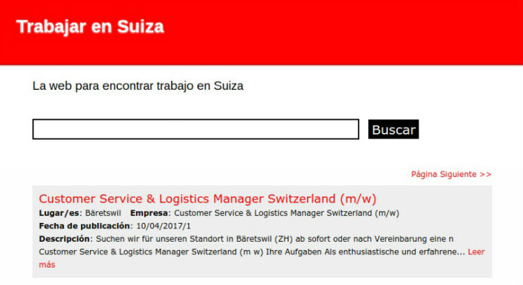 Trabajar en Suiza, buscador de empleo